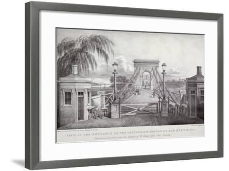 View of the Entrance to the Suspension Bridge at Hammersmith..., London, 1827-Thomas Mann Baynes-Framed Art Print