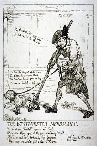 The Westminster Mendicant, 1784-Thomas Rowlandson-Stretched Canvas Print