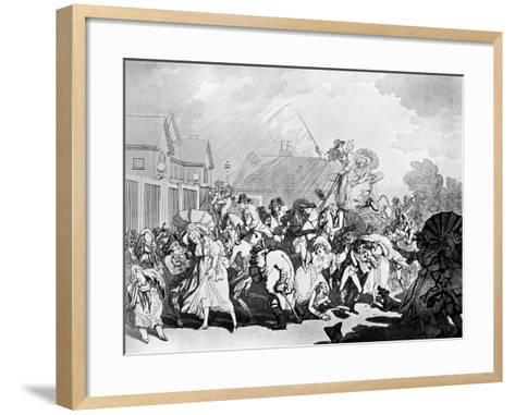 A Sudden Squall in Hyde Park, C1791-Thomas Rowlandson-Framed Art Print