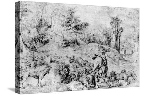 Landscape with Shepherd and Flock, C1520-Titian (Tiziano Vecelli)-Stretched Canvas Print