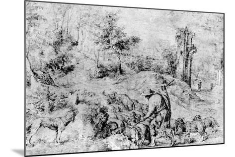 Landscape with Shepherd and Flock, C1520-Titian (Tiziano Vecelli)-Mounted Giclee Print