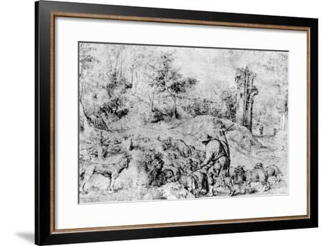 Landscape with Shepherd and Flock, C1520-Titian (Tiziano Vecelli)-Framed Art Print
