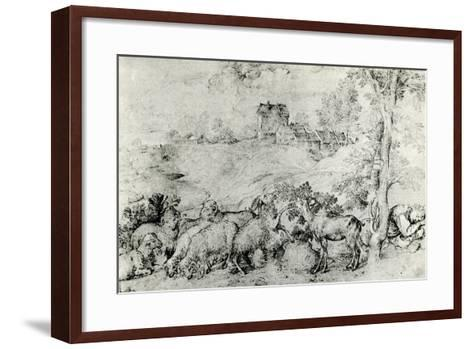 Landscape with Flock of Sheep, C1520-Titian (Tiziano Vecelli)-Framed Art Print