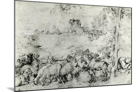 Landscape with Flock of Sheep, C1520-Titian (Tiziano Vecelli)-Mounted Giclee Print