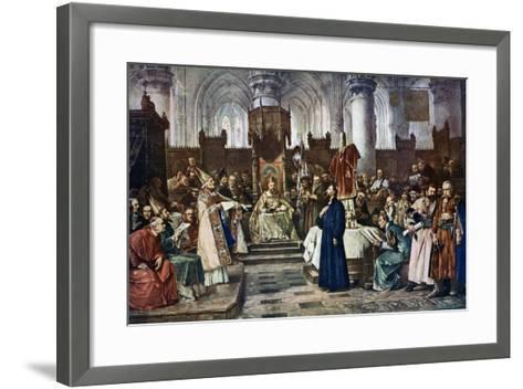 Jan Hus before the Council of Constance, 1415-Vaclav Brozik-Framed Art Print