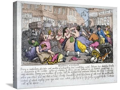 Miseries of London, 1807-Thomas Rowlandson-Stretched Canvas Print