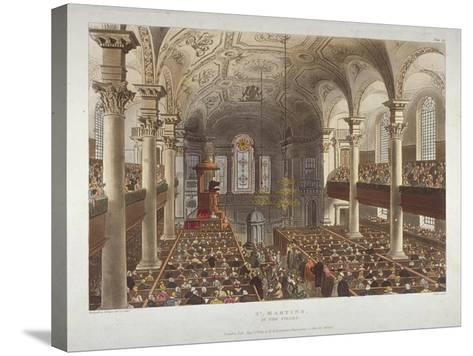 Interior of the Church of St Martin-In-The-Fields, Westminster, London, 1809-Thomas Rowlandson-Stretched Canvas Print