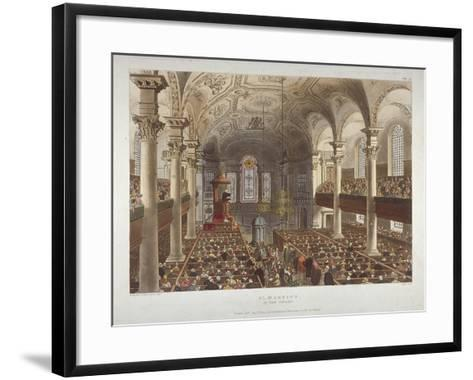 Interior of the Church of St Martin-In-The-Fields, Westminster, London, 1809-Thomas Rowlandson-Framed Art Print