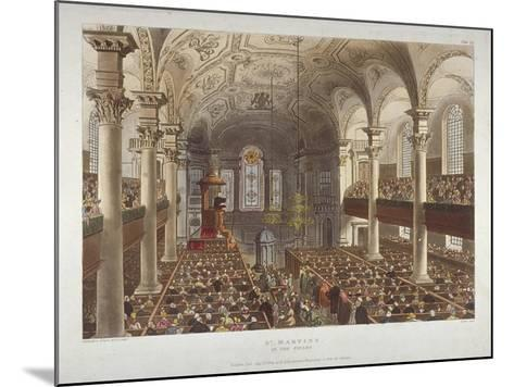 Interior of the Church of St Martin-In-The-Fields, Westminster, London, 1809-Thomas Rowlandson-Mounted Giclee Print