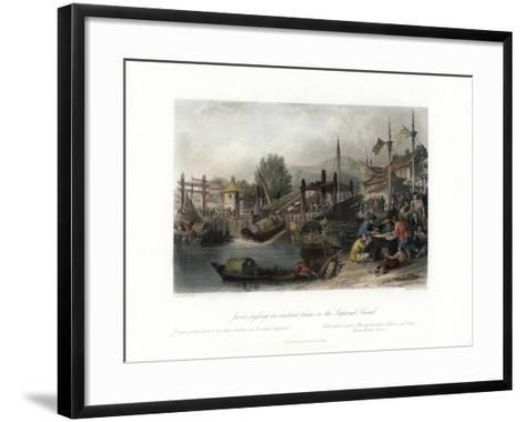 Junks Passing an Inclined Plane on the Imperial Canal, China, C1840-W Floyd-Framed Art Print