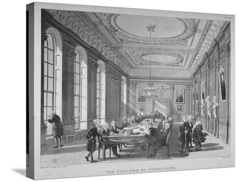Interior of the Boardroom with Board Members, College of Physicians, City of London, 1808-Thomas Rowlandson-Stretched Canvas Print