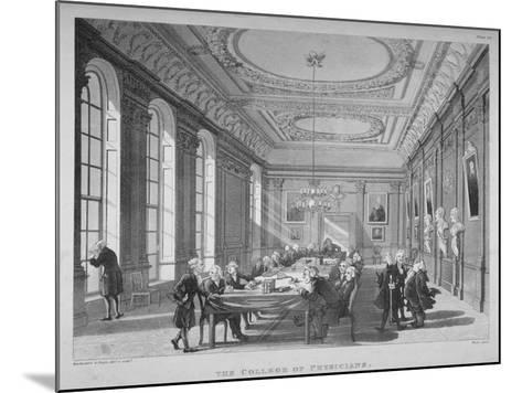 Interior of the Boardroom with Board Members, College of Physicians, City of London, 1808-Thomas Rowlandson-Mounted Giclee Print