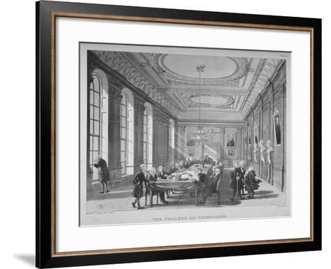Interior of the Boardroom with Board Members, College of Physicians, City of London, 1808-Thomas Rowlandson-Framed Art Print