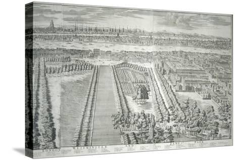 Panoramic View of the City of London and Westminster Showing St James's Park, 1730--Stretched Canvas Print