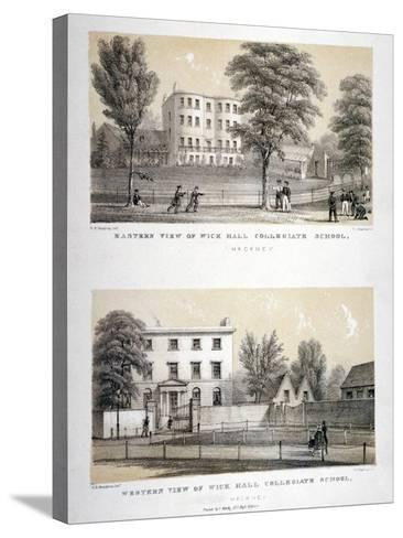 Two Views of Wick Hall Collegiate School, Hackney, London, C1830-TJ Rawlins-Stretched Canvas Print