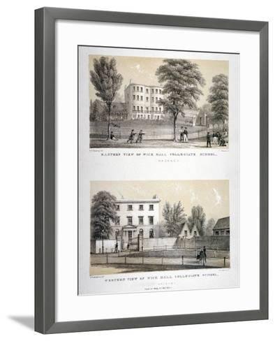 Two Views of Wick Hall Collegiate School, Hackney, London, C1830-TJ Rawlins-Framed Art Print