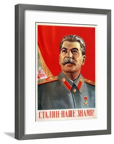 Stalin Is Our Banner!, Poster, 1948-Vasili Suryaninov-Framed Art Print