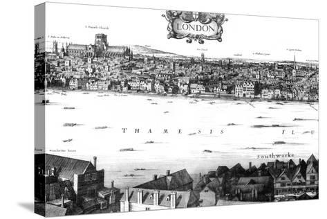 View of London and the Thames from South Bank, 17th Century-William Griggs-Stretched Canvas Print