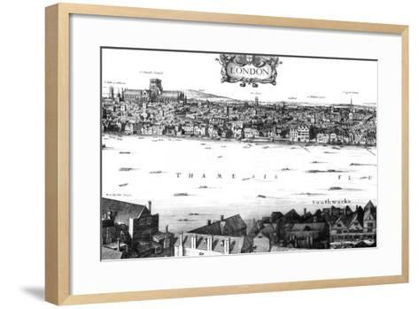 View of London and the Thames from South Bank, 17th Century-William Griggs-Framed Art Print