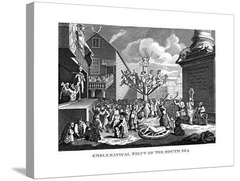 South Sea Bubble, 1721-William Hogarth-Stretched Canvas Print
