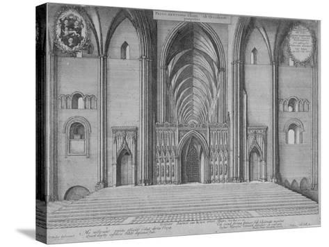 Interior View of the Choir of the Old St Paul's Cathedral from the West, City of London, 1656-Wenceslaus Hollar-Stretched Canvas Print