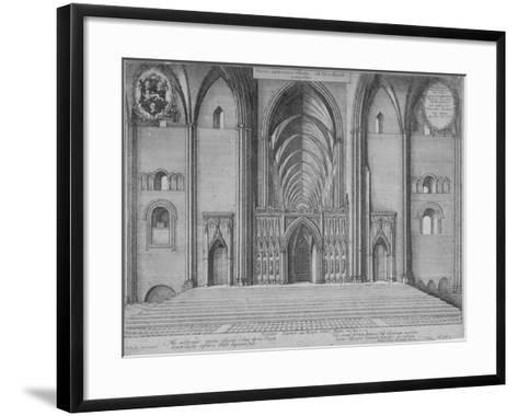 Interior View of the Choir of the Old St Paul's Cathedral from the West, City of London, 1656-Wenceslaus Hollar-Framed Art Print