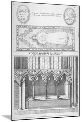 Tomb of Sir Ralph De Hengham in Old St Paul's Cathedral, City of London, 1656-Wenceslaus Hollar-Mounted Giclee Print