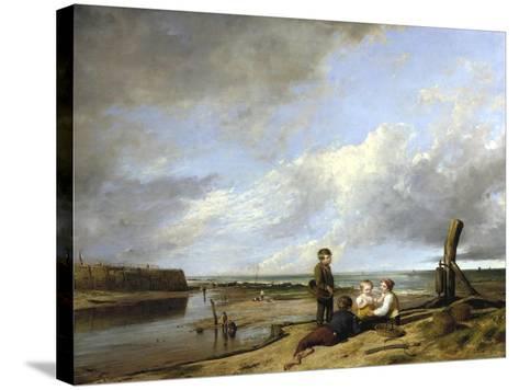 Shrimp Boys at Cromer, 1815-William Collins-Stretched Canvas Print