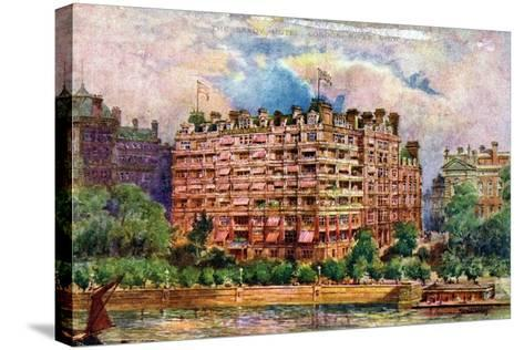 The Savoy Hotel as Seen from the River Thames, London, 1905-William Harold Oakley-Stretched Canvas Print