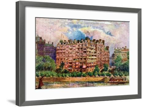 The Savoy Hotel as Seen from the River Thames, London, 1905-William Harold Oakley-Framed Art Print