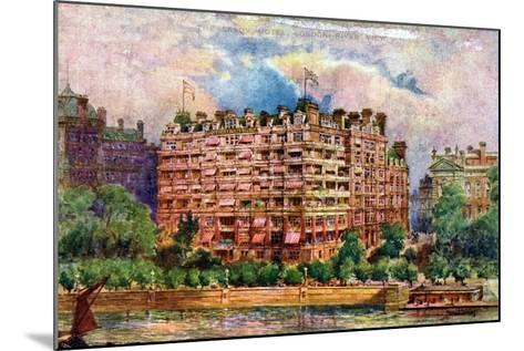 The Savoy Hotel as Seen from the River Thames, London, 1905-William Harold Oakley-Mounted Giclee Print