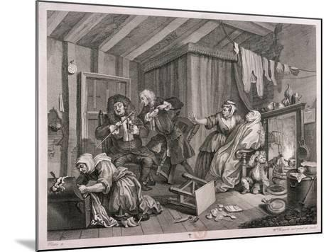 In a High Saliuation at the Point of Death, Plate V of the Harlot's Progress, 1732-William Hogarth-Mounted Giclee Print