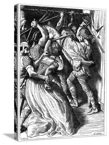 The Murder of Cenulph (D82), King of Mercia, 19th Century-W Small-Stretched Canvas Print