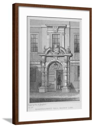 The Old Door of Haberdashers' Hall, City of London, 1830-W Watkins-Framed Art Print