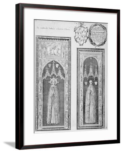 Brasses of John Newcourt and Brome Whorewood in Old St Paul's Cathedral, City of London, 1656-Wenceslaus Hollar-Framed Art Print