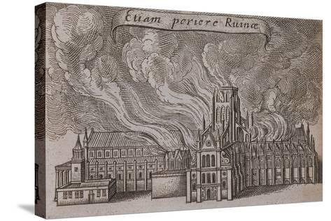 St Paul's Cathedral, London, on Fire, 1666-Wenceslaus Hollar-Stretched Canvas Print