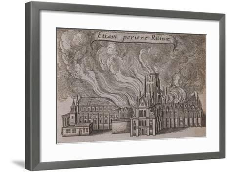 St Paul's Cathedral, London, on Fire, 1666-Wenceslaus Hollar-Framed Art Print