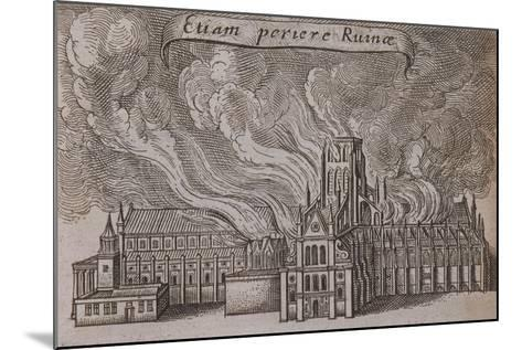 St Paul's Cathedral, London, on Fire, 1666-Wenceslaus Hollar-Mounted Giclee Print