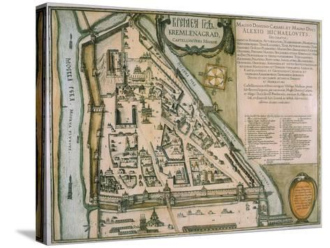 Map of the Moscow Kremlin (Castellum Urbis Moskva), Russia, 1597-Willem Janszoon Blaeu-Stretched Canvas Print