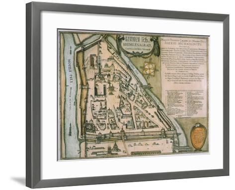 Map of the Moscow Kremlin (Castellum Urbis Moskva), Russia, 1597-Willem Janszoon Blaeu-Framed Art Print