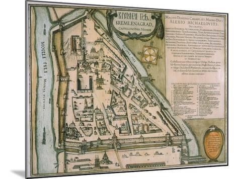 Map of the Moscow Kremlin (Castellum Urbis Moskva), Russia, 1597-Willem Janszoon Blaeu-Mounted Giclee Print