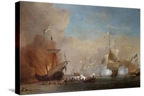 Pirates Attacking a British Navy Ship, 17th Century-Willem Van De Velde The Younger-Stretched Canvas Print