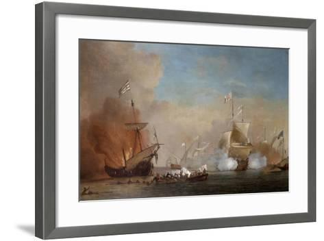 Pirates Attacking a British Navy Ship, 17th Century-Willem Van De Velde The Younger-Framed Art Print