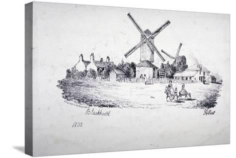 View of Blackheath, Showing Windmills and Buildings, Greenwich, London, 1832-William Day-Stretched Canvas Print