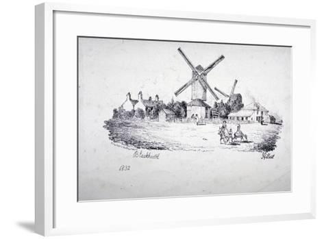 View of Blackheath, Showing Windmills and Buildings, Greenwich, London, 1832-William Day-Framed Art Print