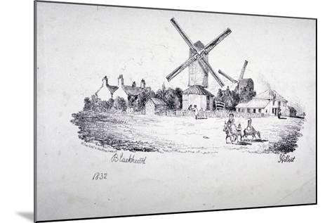 View of Blackheath, Showing Windmills and Buildings, Greenwich, London, 1832-William Day-Mounted Giclee Print