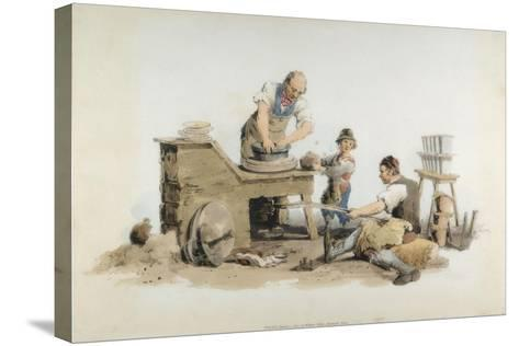 Making Flower Pots, 1808-William Henry Pyne-Stretched Canvas Print
