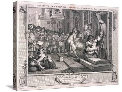 The Industrious Prentice, Plate VI of Industry and Idleness, 1747-William Hogarth-Stretched Canvas Print