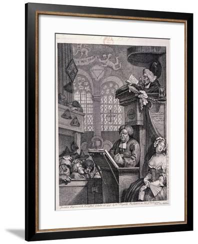 The Sleeping Congregation, 1762-William Hogarth-Framed Art Print
