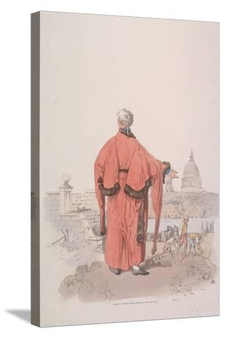 Alderman in Civic Costume Looking Towards St Paul's Cathedral, London, 1805-William Henry Pyne-Stretched Canvas Print